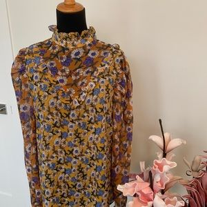 High neck floral top from BooHoo size 6/ Small